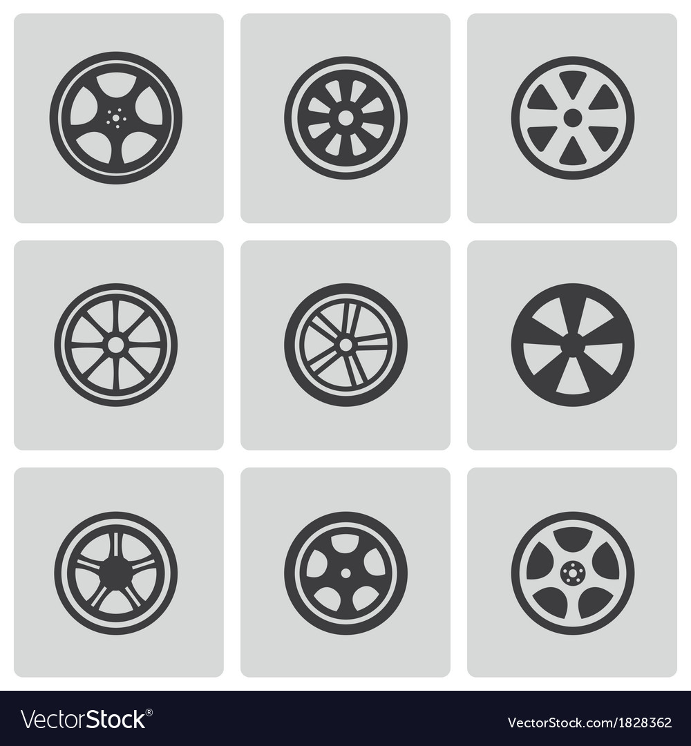 Black wheel disks icons set vector | Price: 1 Credit (USD $1)