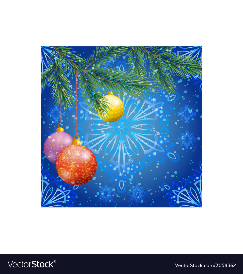 Christmas background with branches and balls vector | Price: 3 Credit (USD $3)