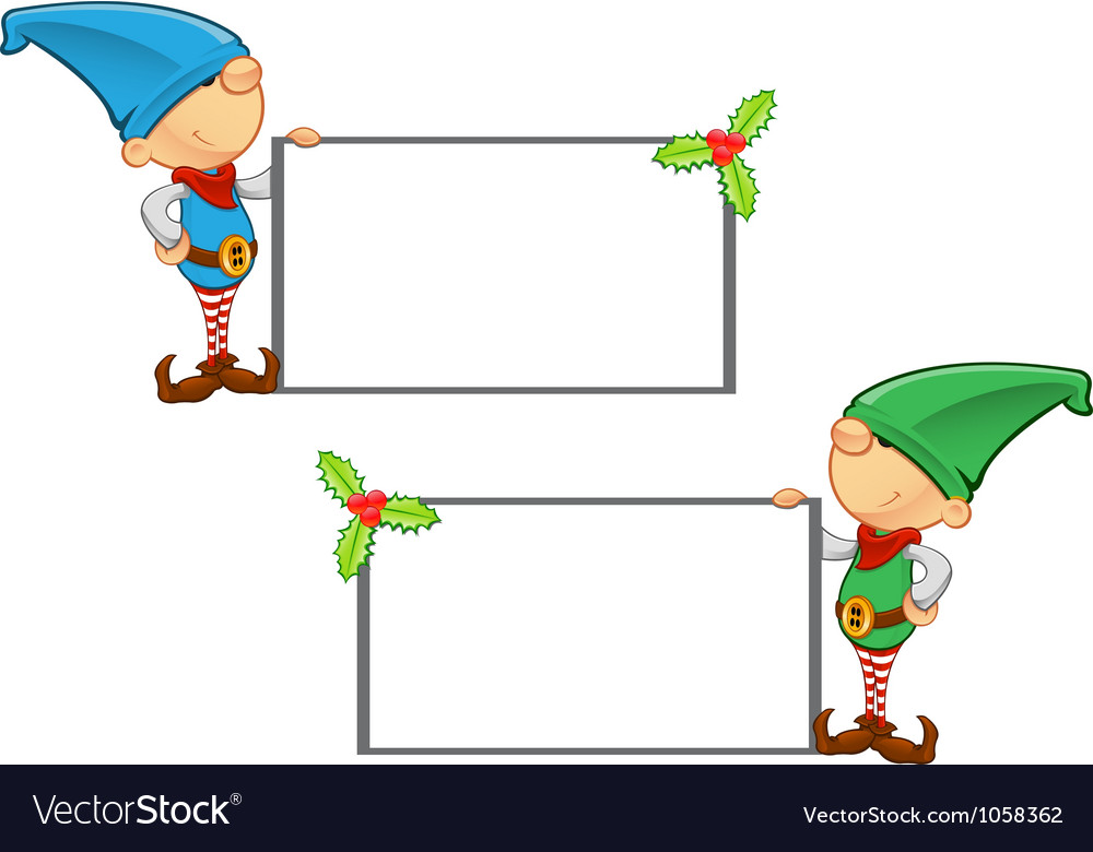 Elf mascot holding blank board vector | Price: 1 Credit (USD $1)