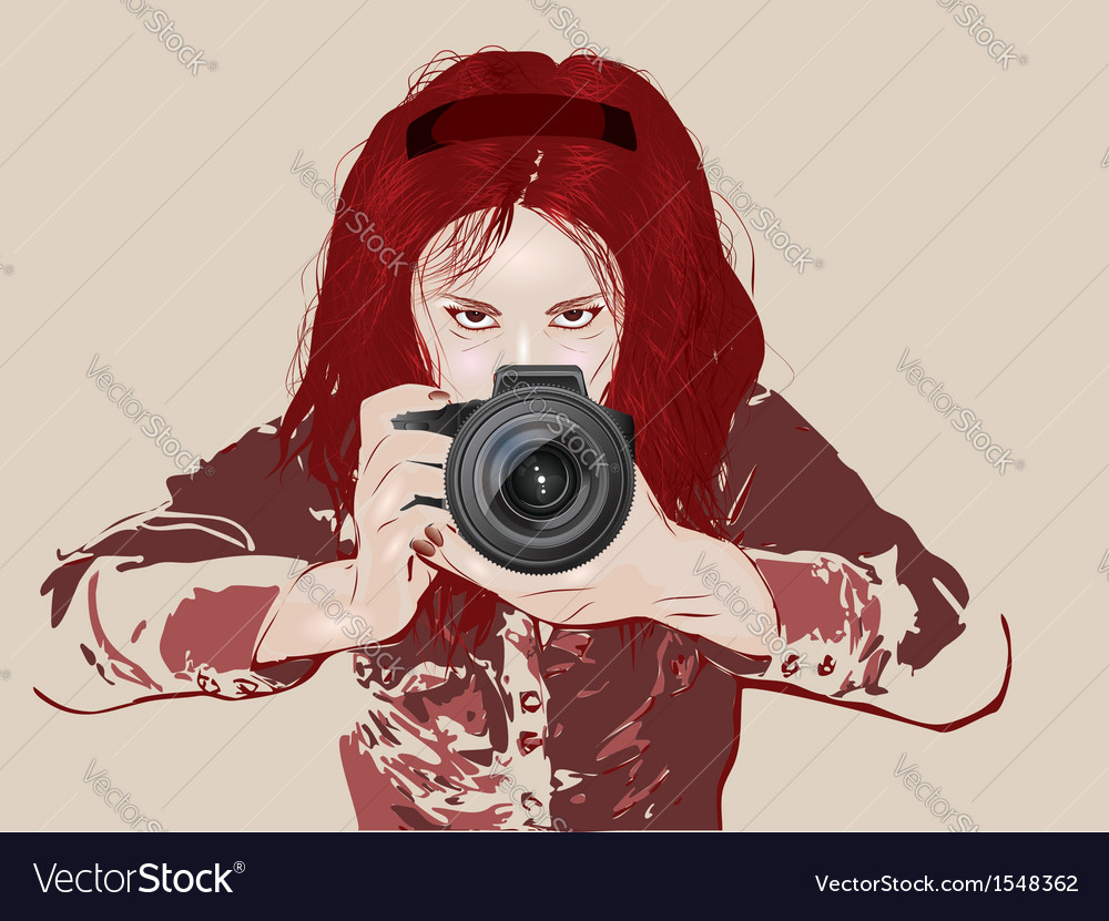 Female photographer vector | Price: 1 Credit (USD $1)