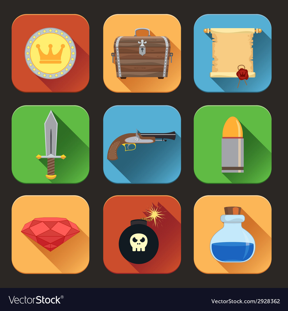 Game resources icons flat vector | Price: 1 Credit (USD $1)