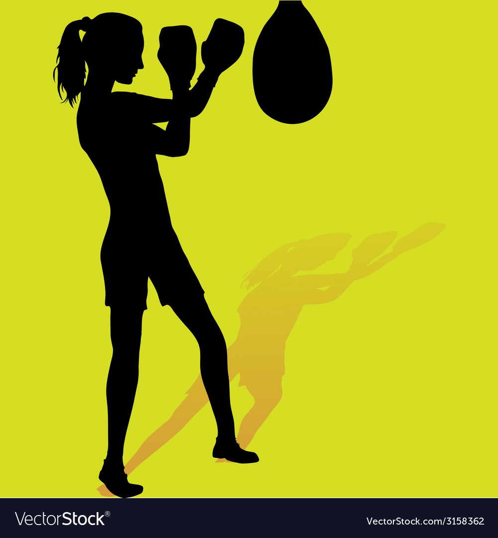 Girl boxer silhouette vector | Price: 1 Credit (USD $1)
