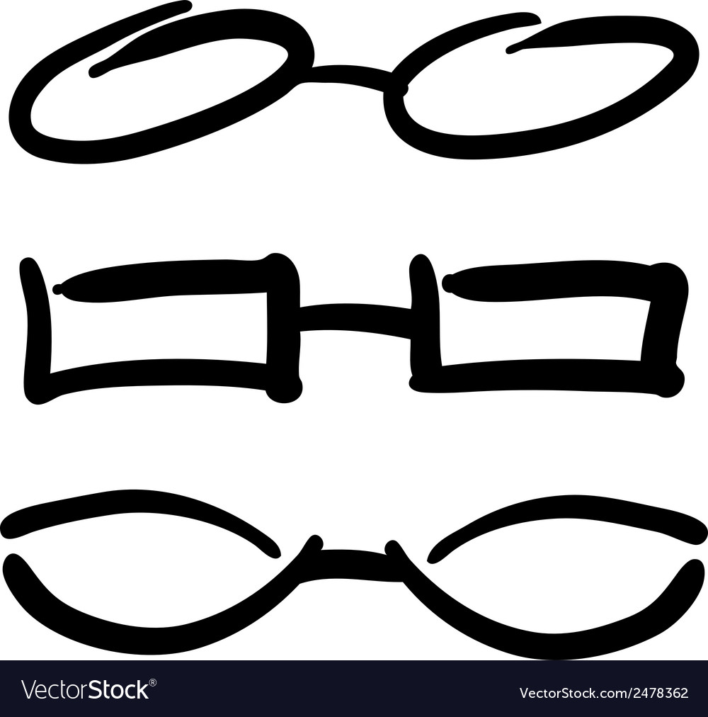 Hand drawn glasses and sunglasses silhouettes sket vector | Price: 1 Credit (USD $1)