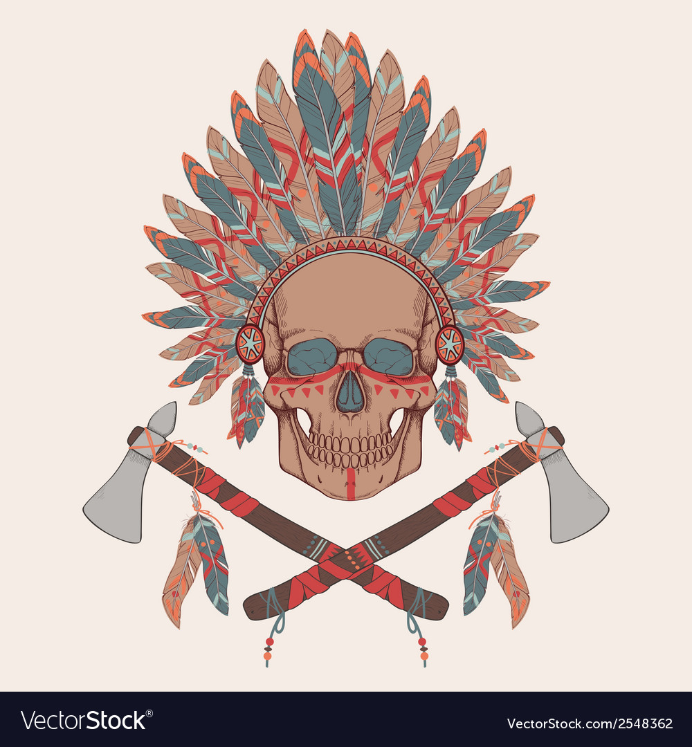 Human skull in native american indian chi vector | Price: 1 Credit (USD $1)