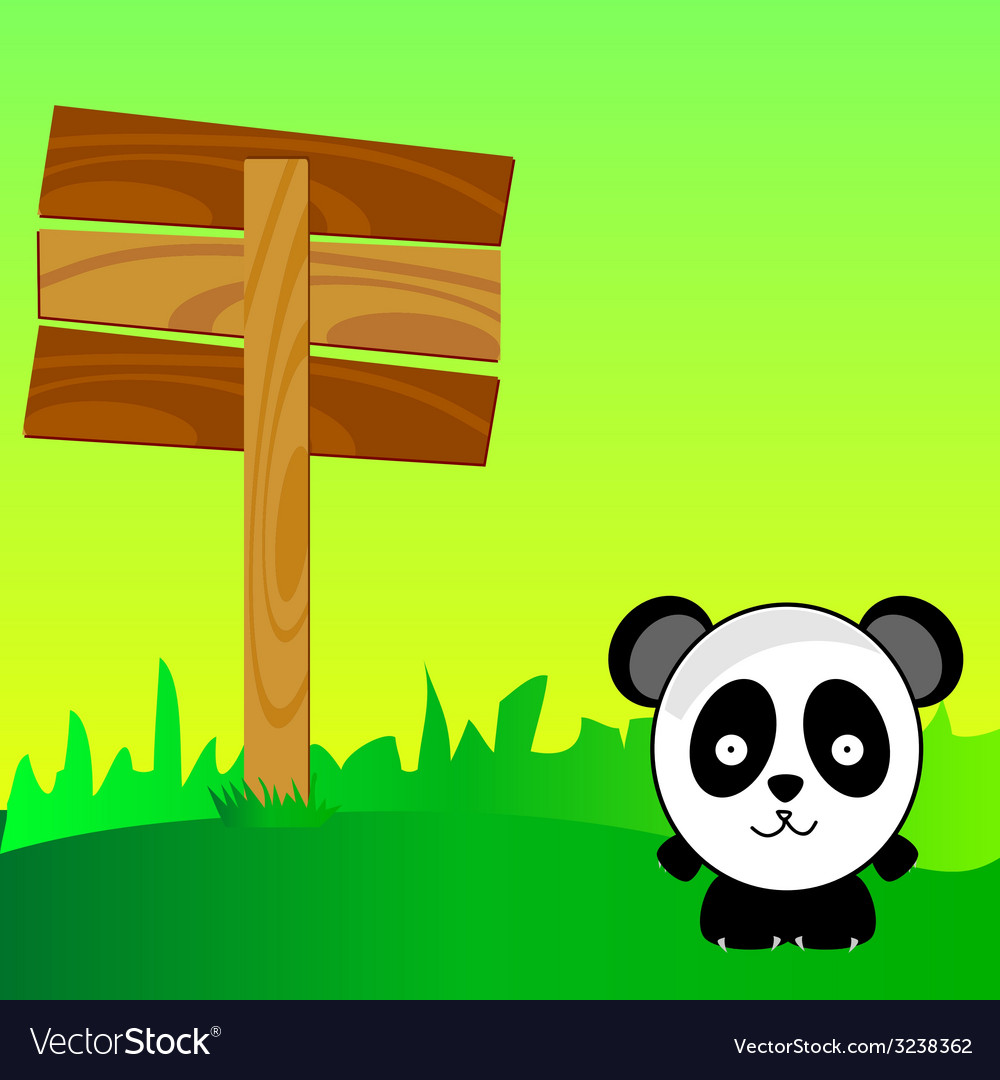 Panda with signboard in the nature art color vector   Price: 1 Credit (USD $1)