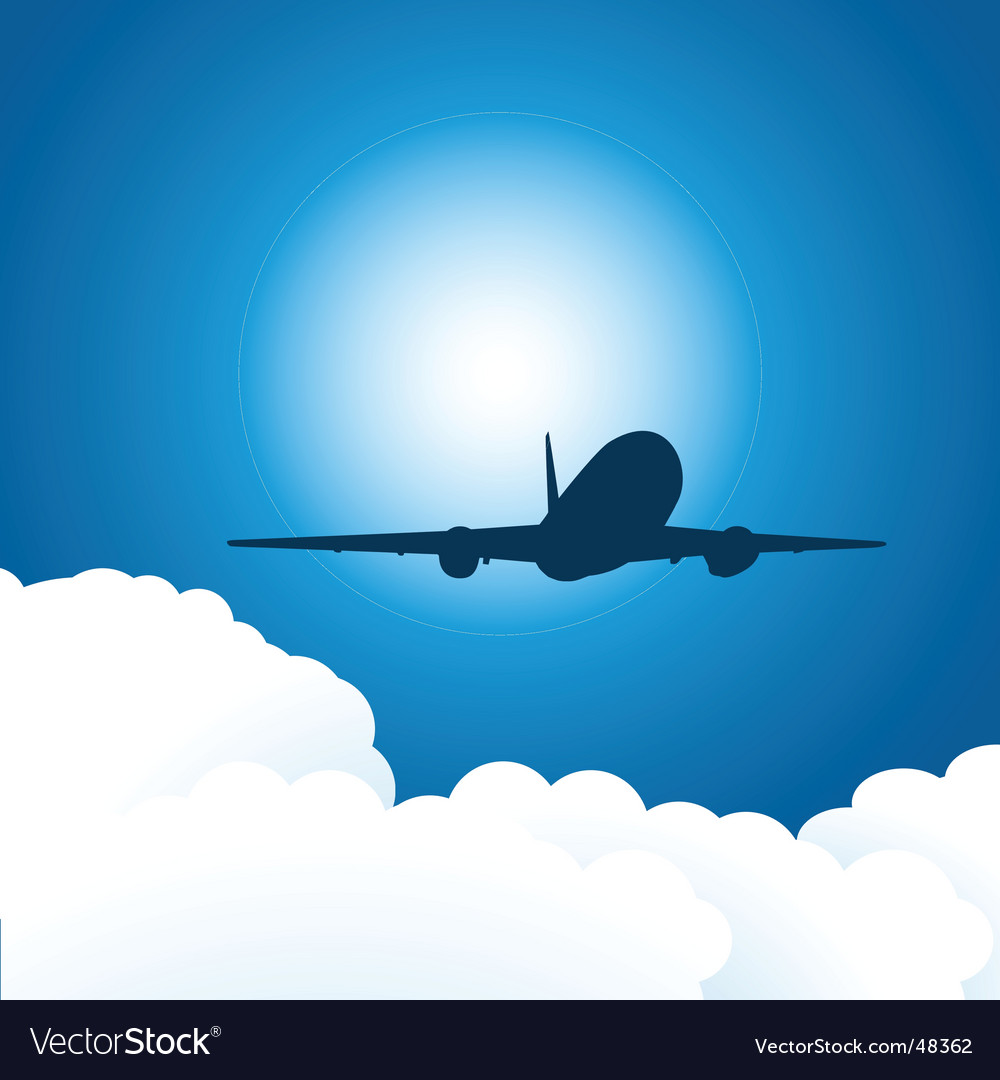 Plane and clouds vector | Price: 1 Credit (USD $1)