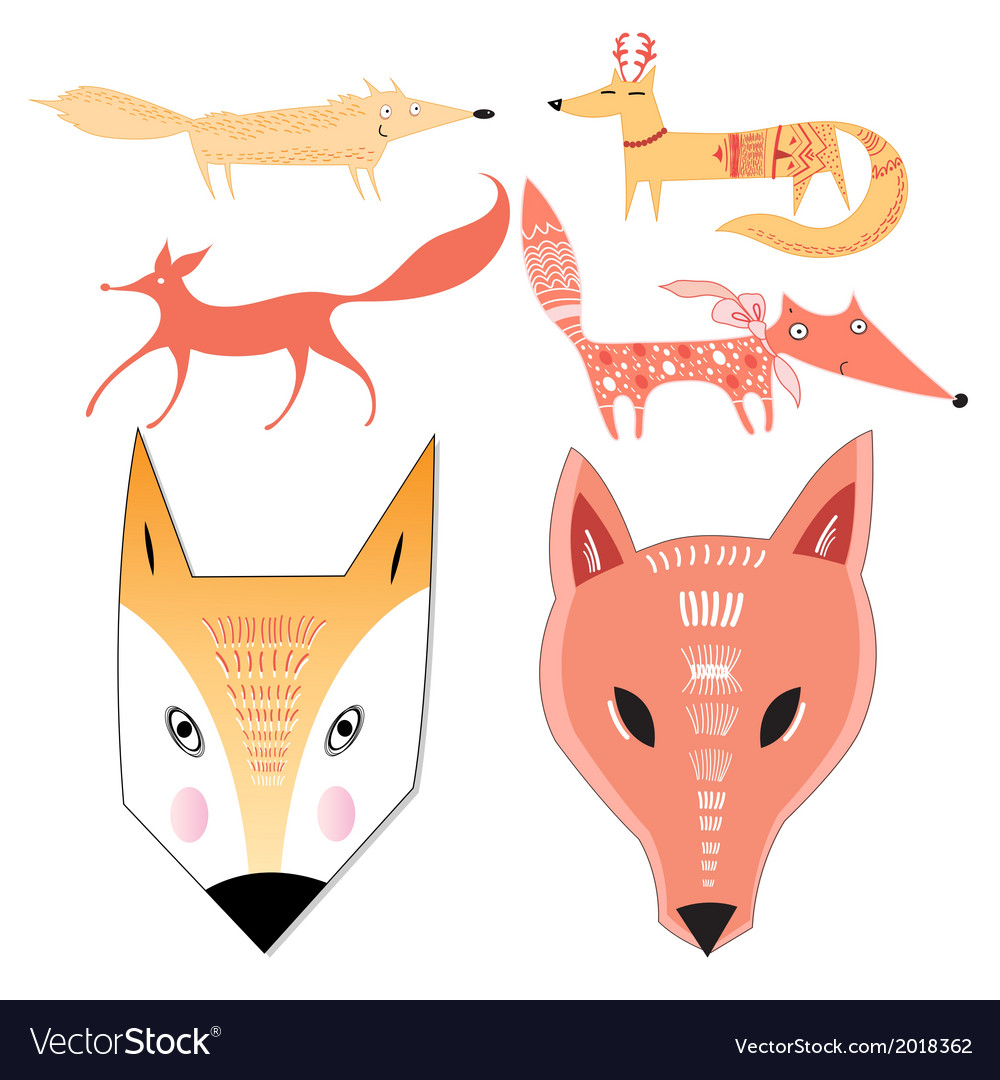Seth different foxes vector | Price: 1 Credit (USD $1)