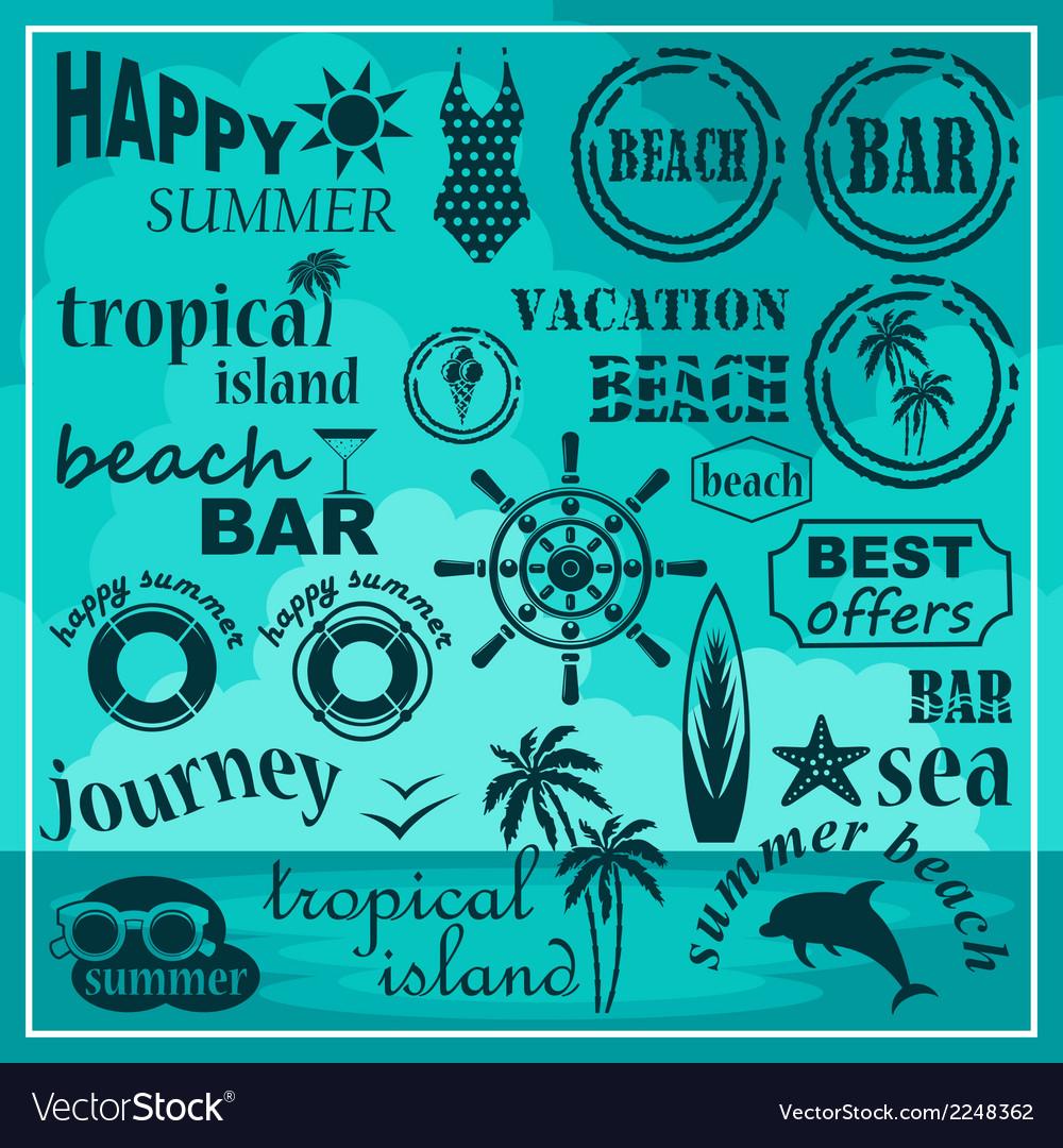 Summer beach set vector   Price: 1 Credit (USD $1)