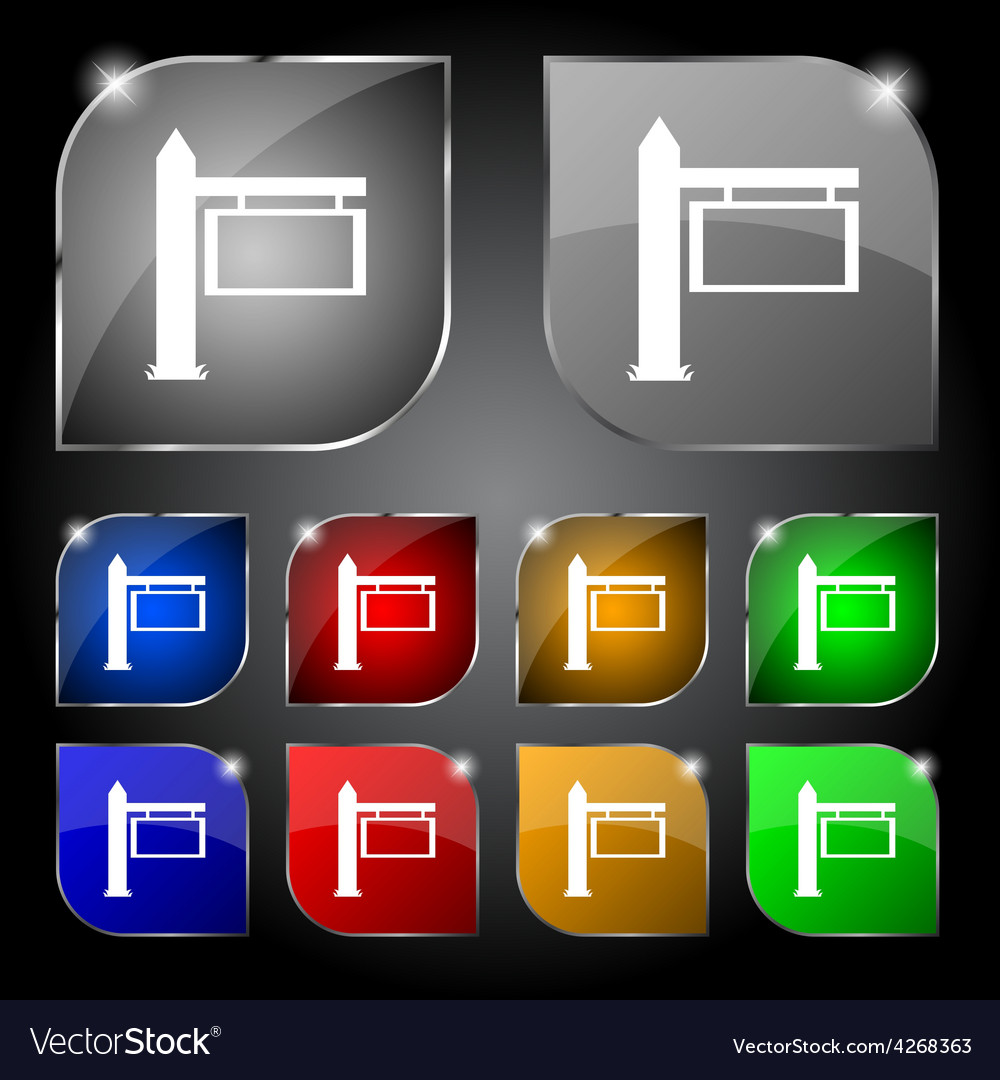 Information road sign icon sign set of ten vector | Price: 1 Credit (USD $1)