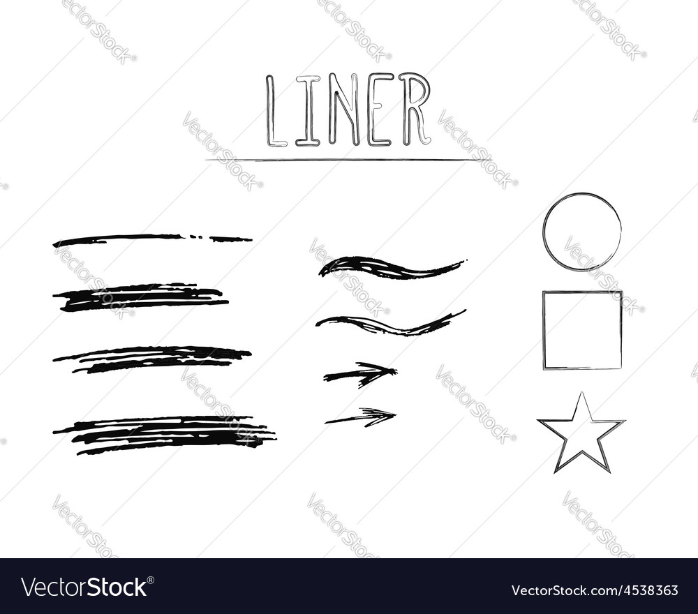 Set of hand drawn doodle sketchy grunge liner vector | Price: 1 Credit (USD $1)