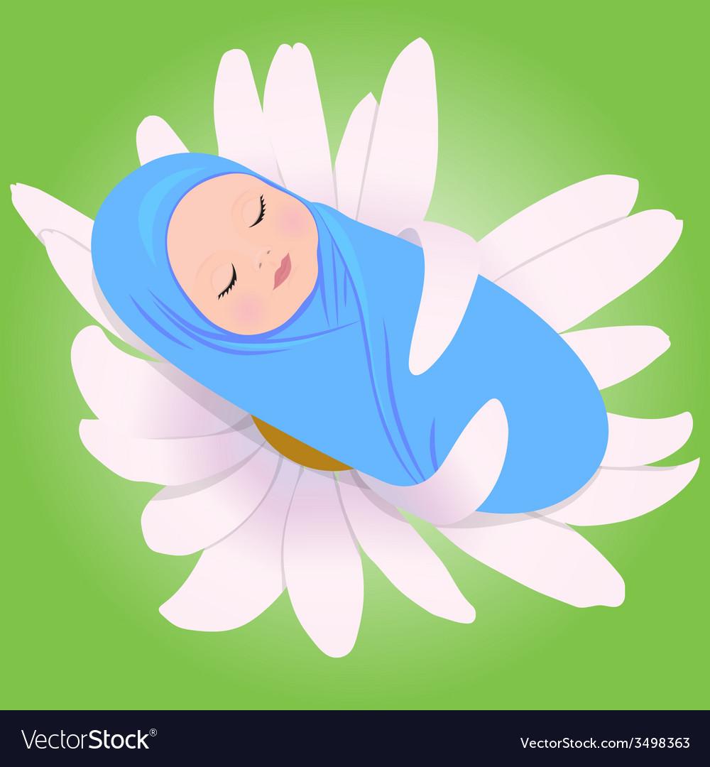 Sleeping babe in daisy vector   Price: 1 Credit (USD $1)