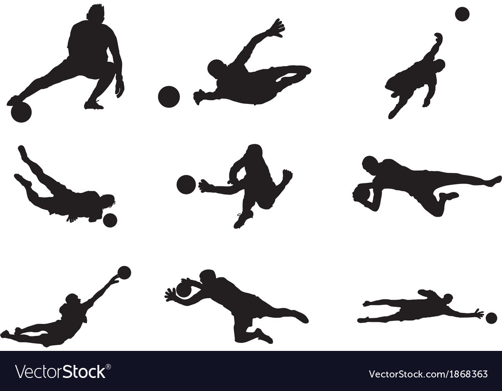 Soccer goalkeeper silhouette vector | Price: 1 Credit (USD $1)