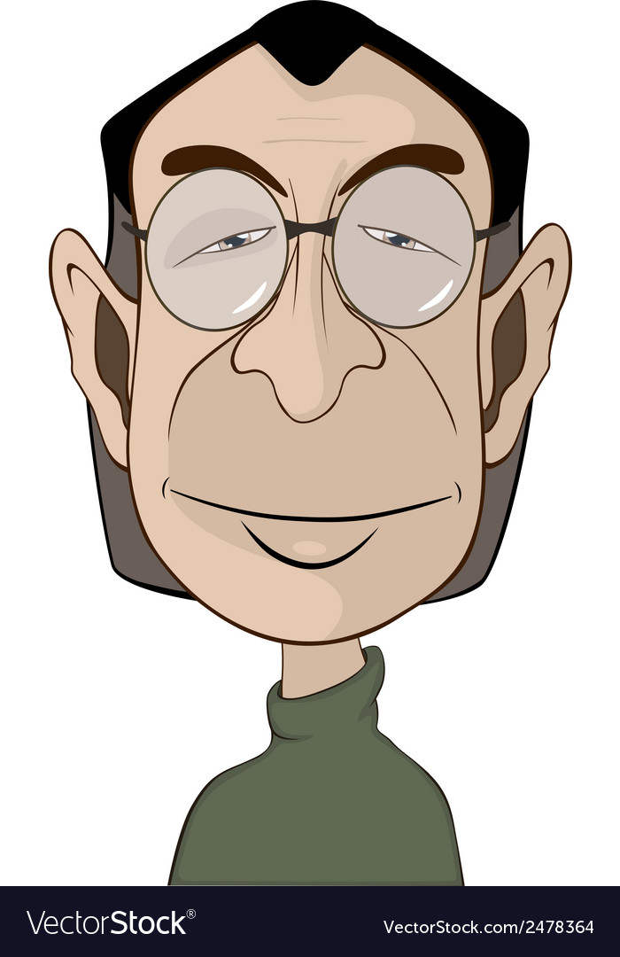 A mans in glasses portrait caricature vector | Price: 1 Credit (USD $1)