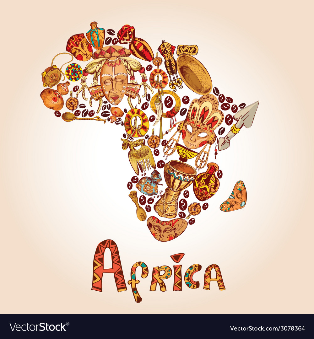 Africa sketch concept vector | Price: 1 Credit (USD $1)