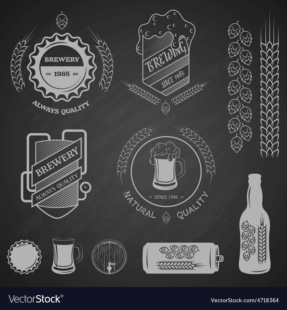 Brewing emblems and design elements vector | Price: 3 Credit (USD $3)