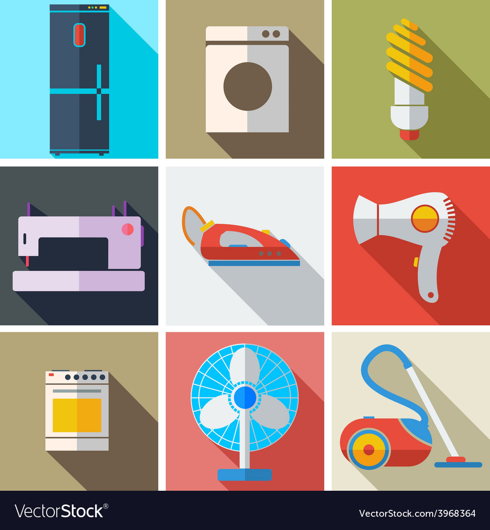 Collection modern flat icons household appliances vector | Price: 1 Credit (USD $1)