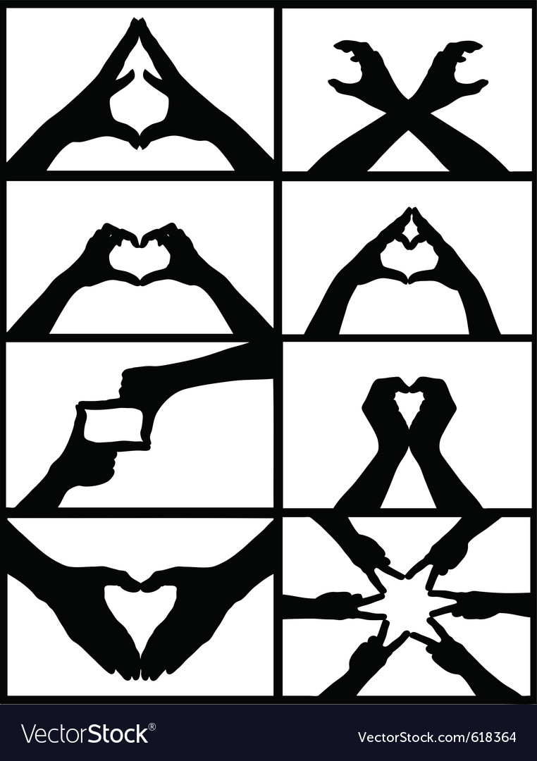 Hand signs collage vector | Price: 1 Credit (USD $1)