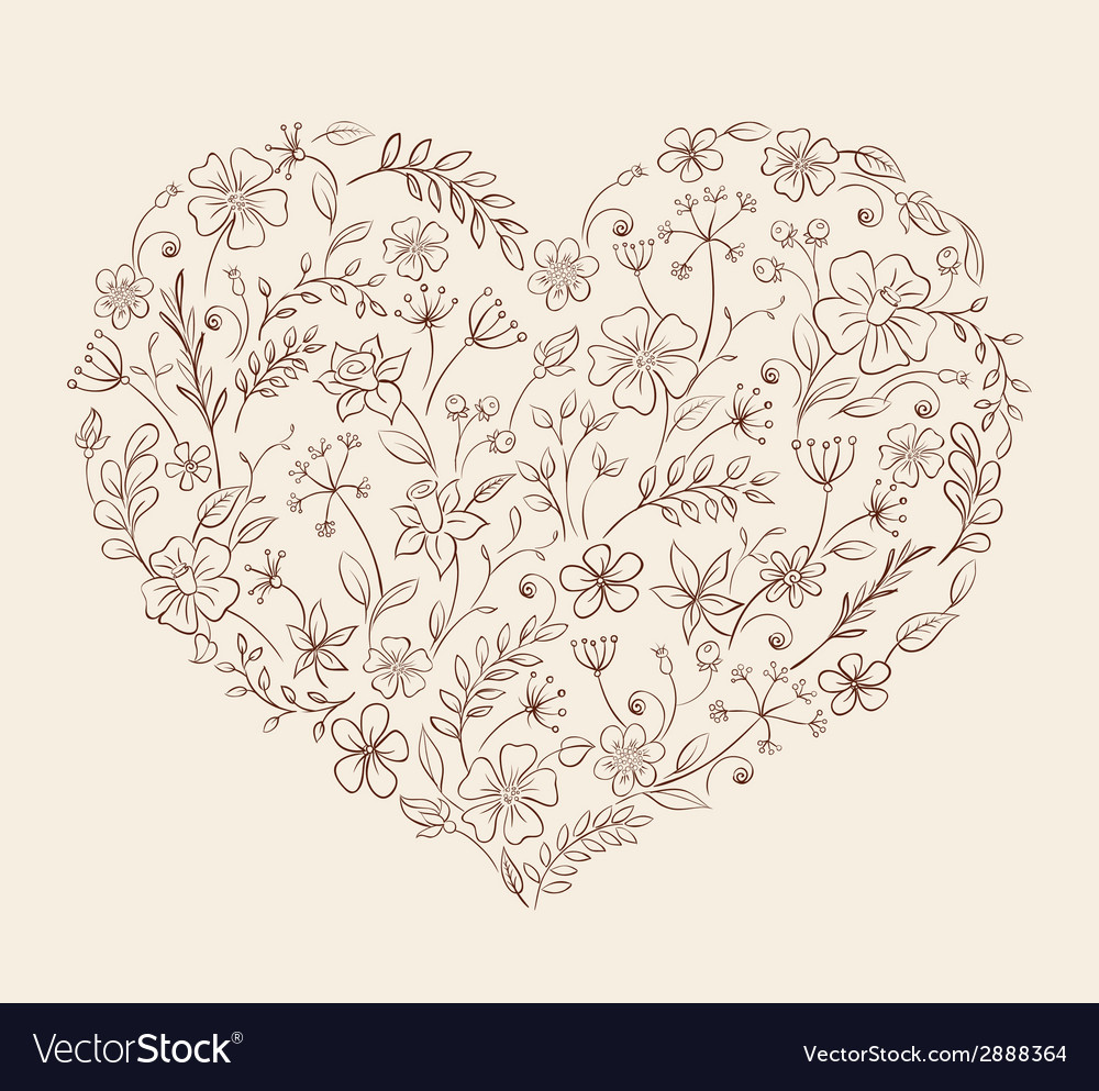 Heart of the flower pattern vector | Price: 1 Credit (USD $1)