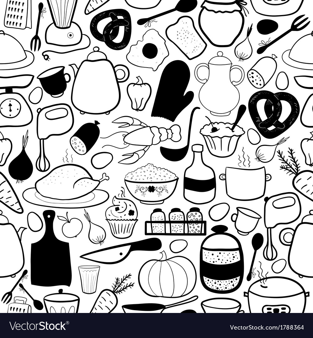 Kitchen seamless pattern vector | Price: 1 Credit (USD $1)