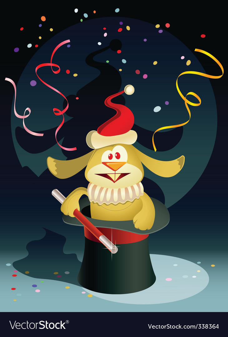 New year rabbit the magician vector | Price: 3 Credit (USD $3)