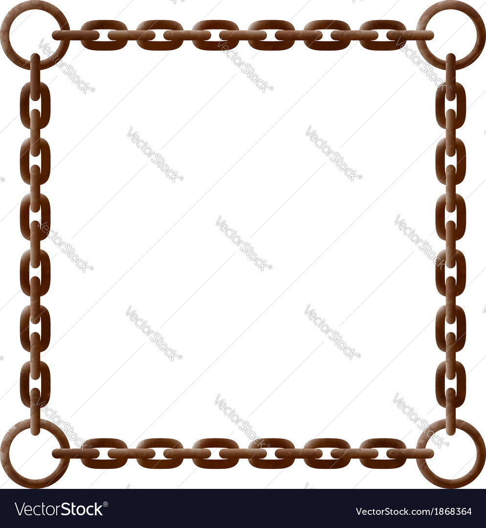 Old rusty chain frame with metal rings vector | Price: 1 Credit (USD $1)