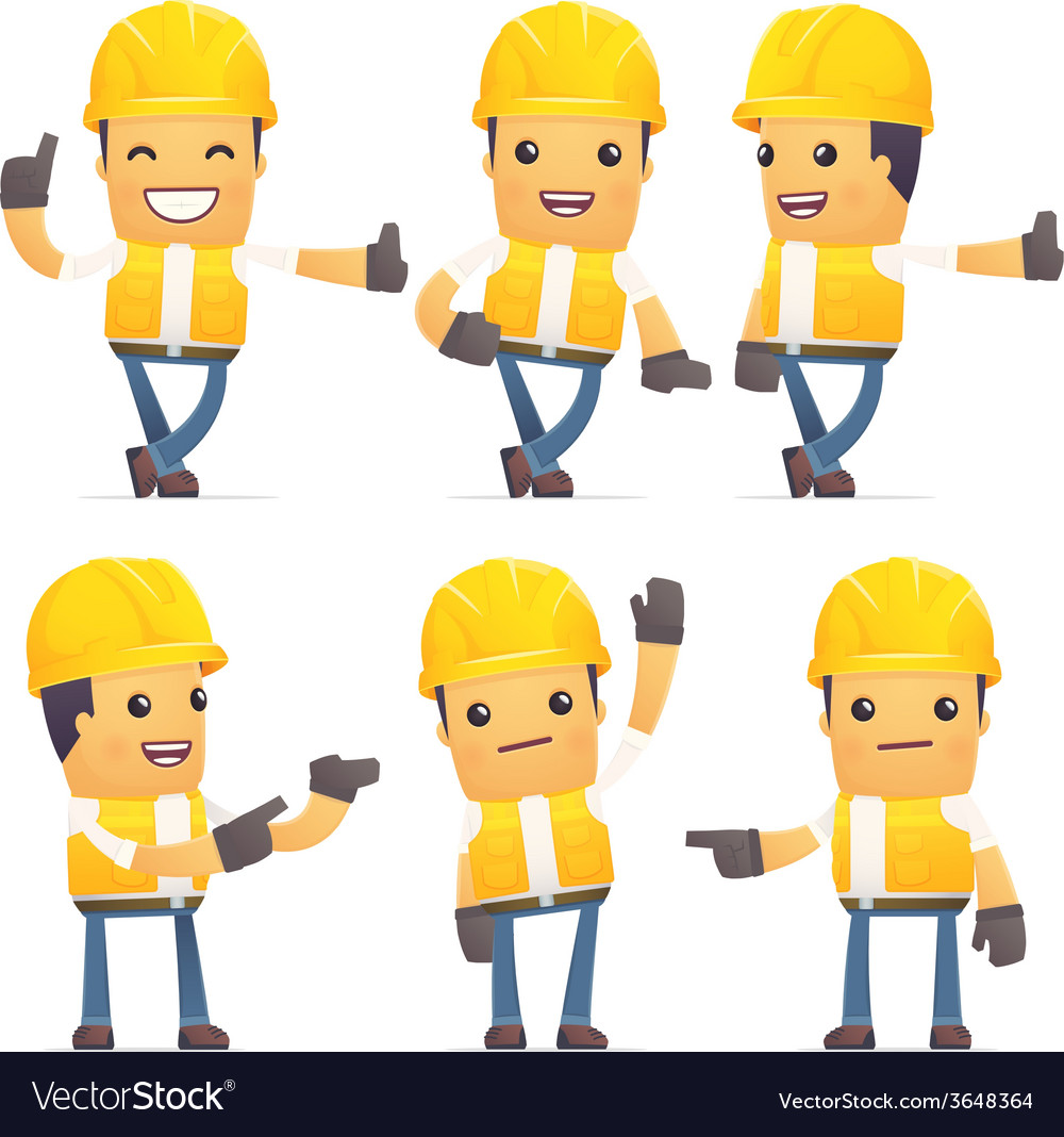 Set of contractor character in different poses vector   Price: 1 Credit (USD $1)
