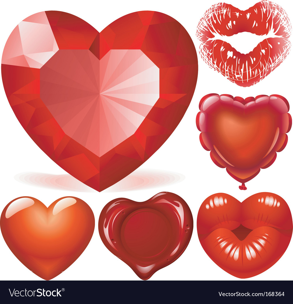 Set of red hearts vector | Price: 3 Credit (USD $3)