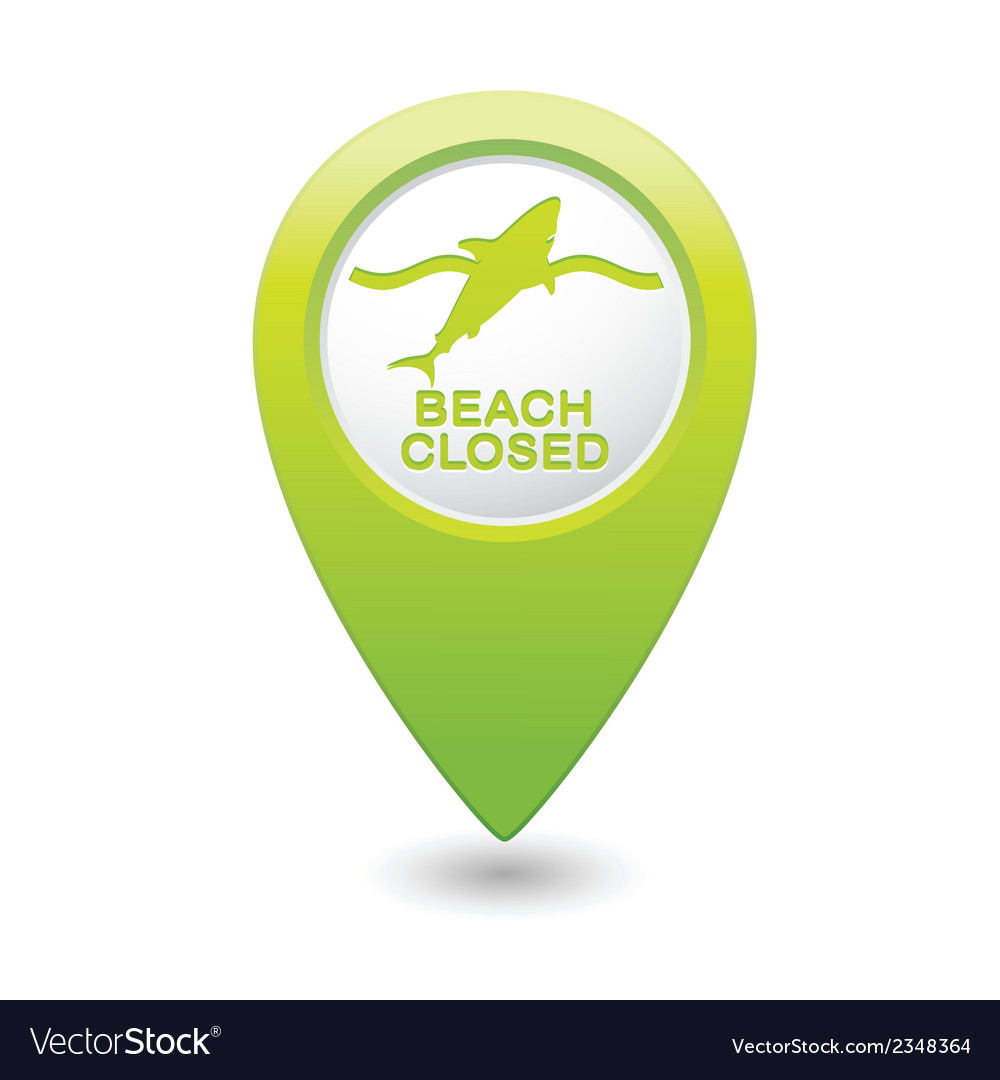 Shark icon green map pointer vector | Price: 1 Credit (USD $1)