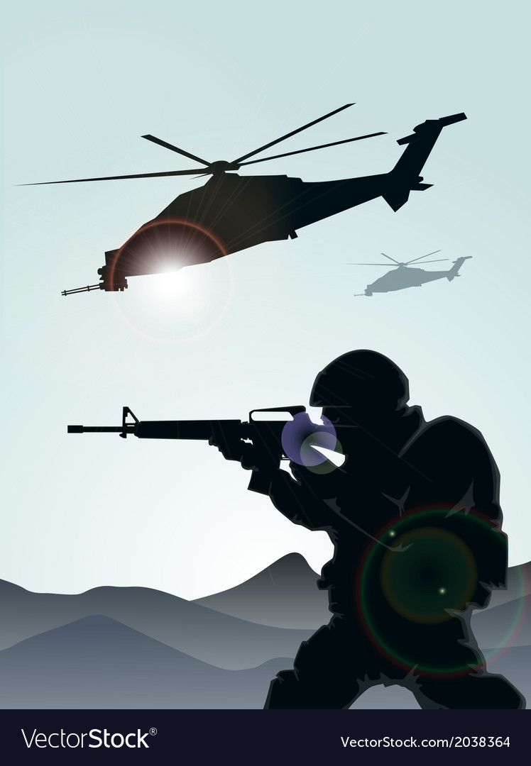 Soldier with helicopter vector | Price: 1 Credit (USD $1)
