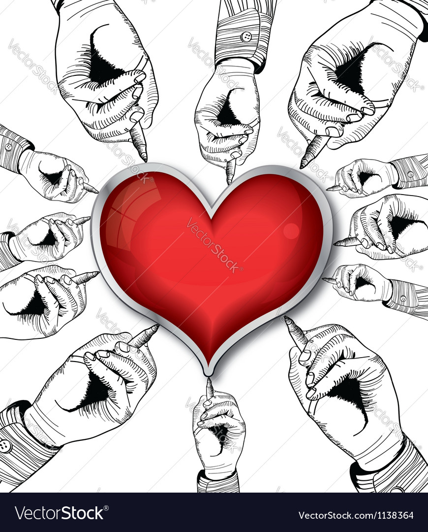 Valentine heart drawing vector | Price: 1 Credit (USD $1)