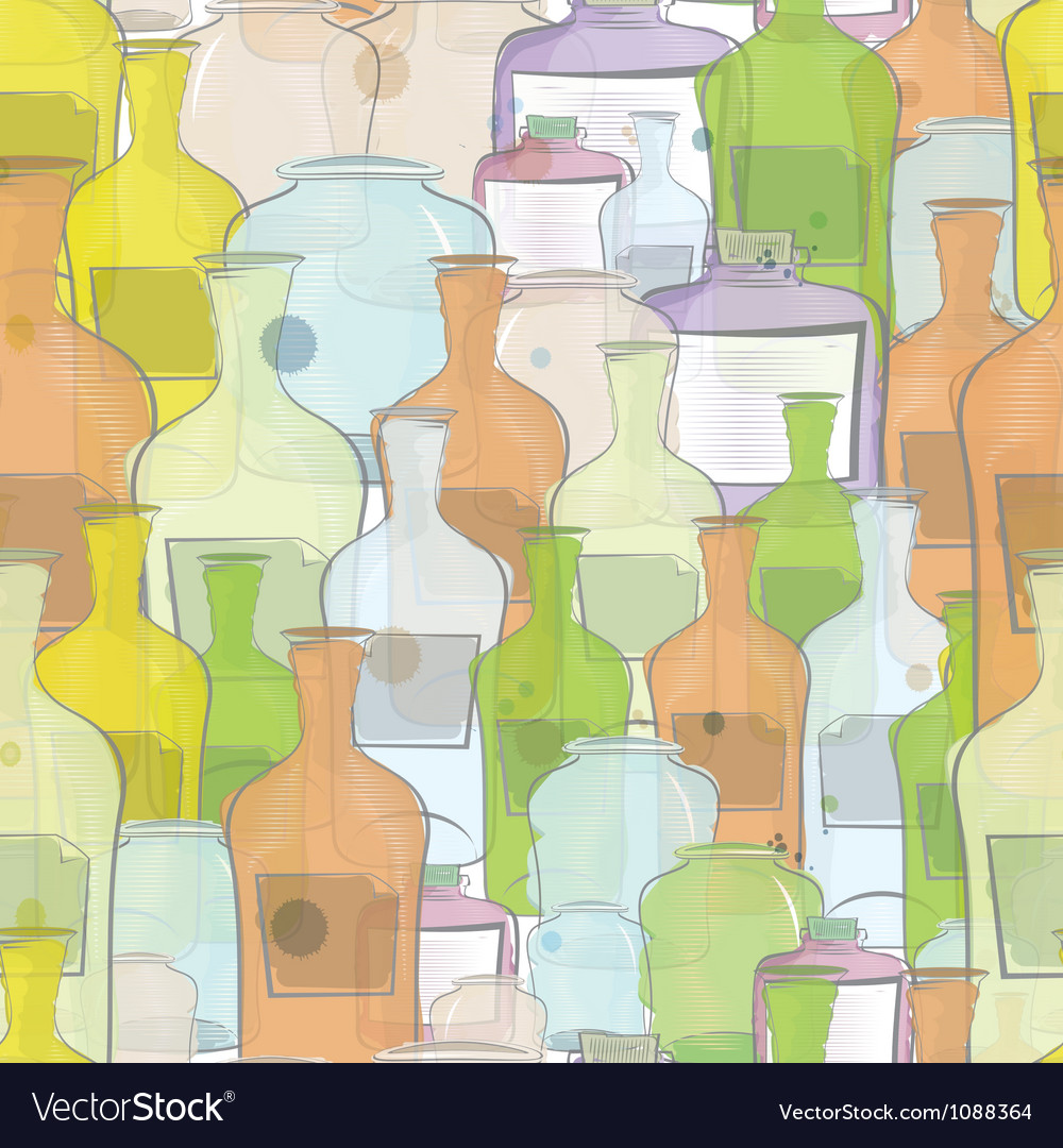 Water color bottles seamless vector | Price: 1 Credit (USD $1)