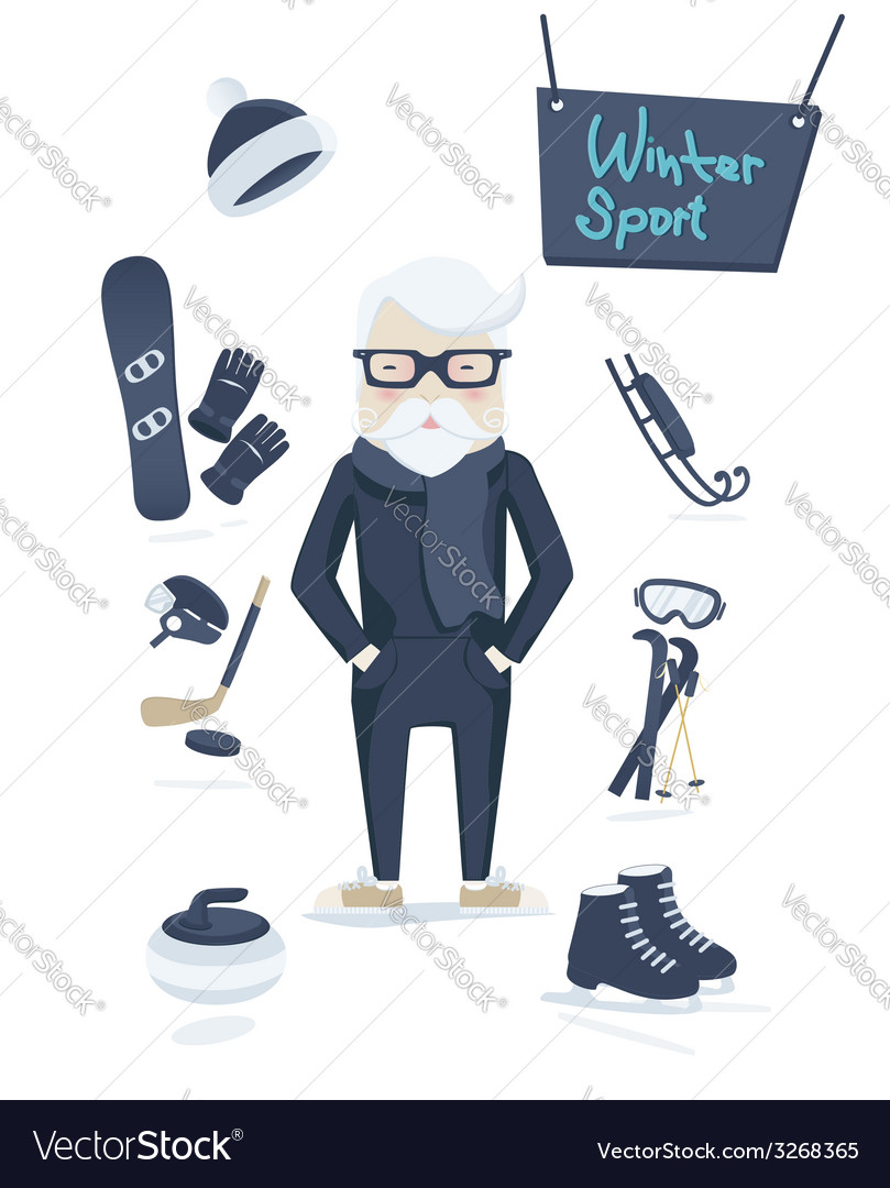 Athletic old man and winter sport vector | Price: 1 Credit (USD $1)