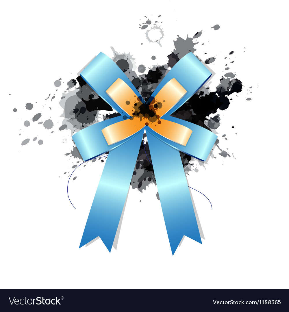 Blue ribbon bow on ink splash vector | Price: 1 Credit (USD $1)