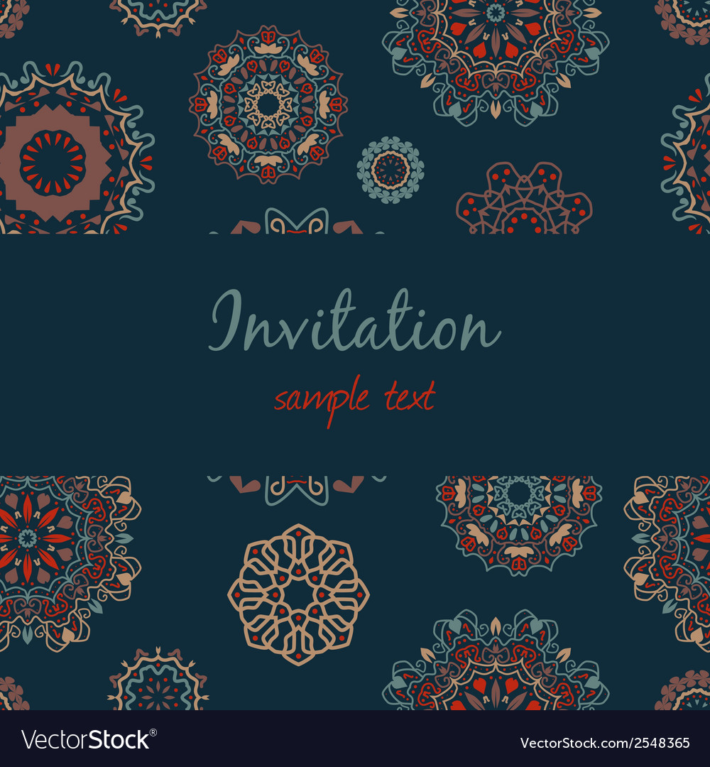 Colorful invitation with floral ornament vector | Price: 1 Credit (USD $1)