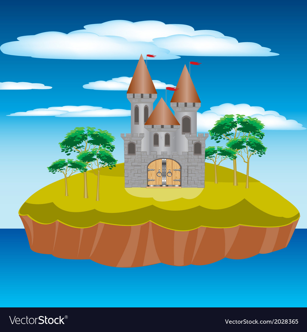 Fortress on island vector | Price: 1 Credit (USD $1)