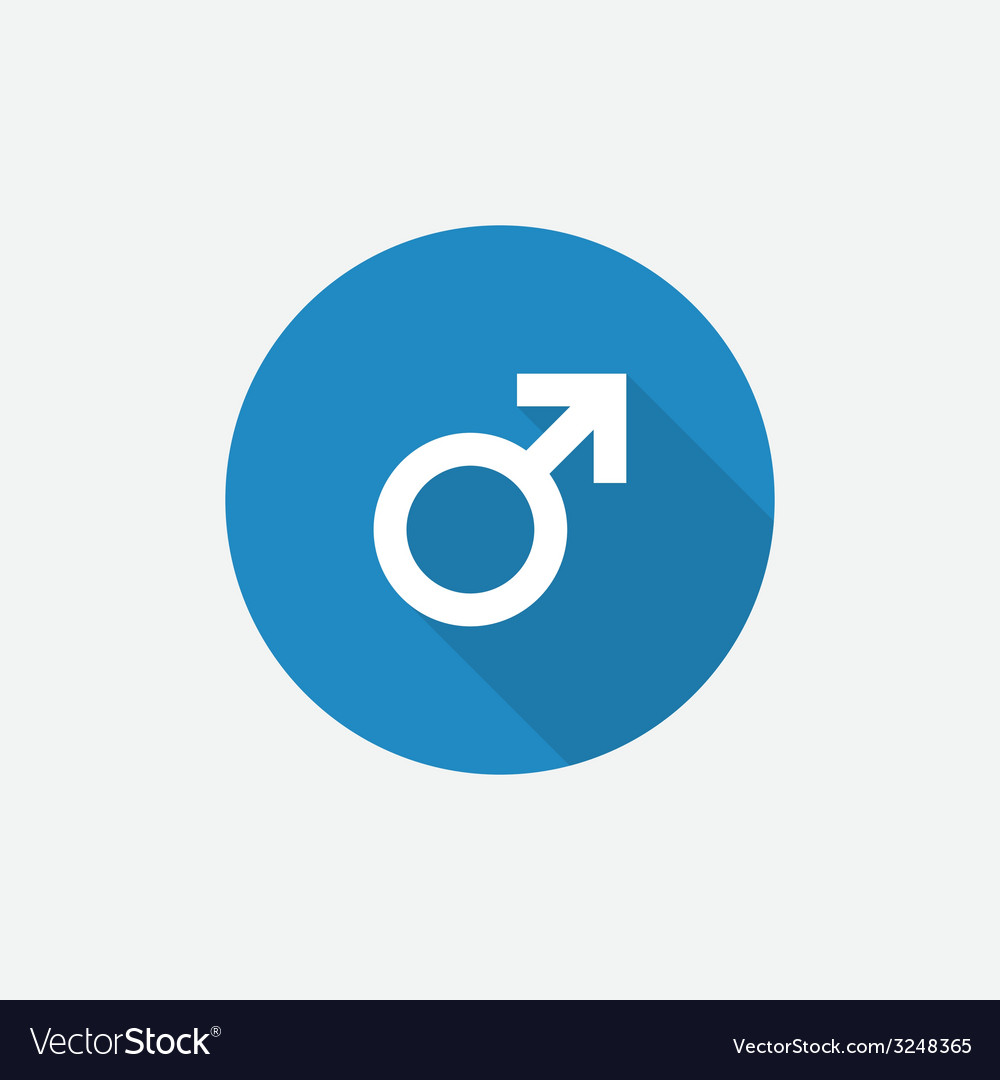 Male symbol flat blue simple icon with long shadow vector | Price: 1 Credit (USD $1)