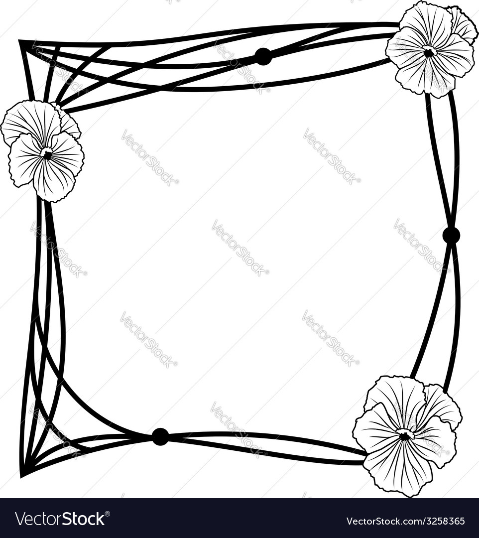 Pansy frame vector | Price: 1 Credit (USD $1)