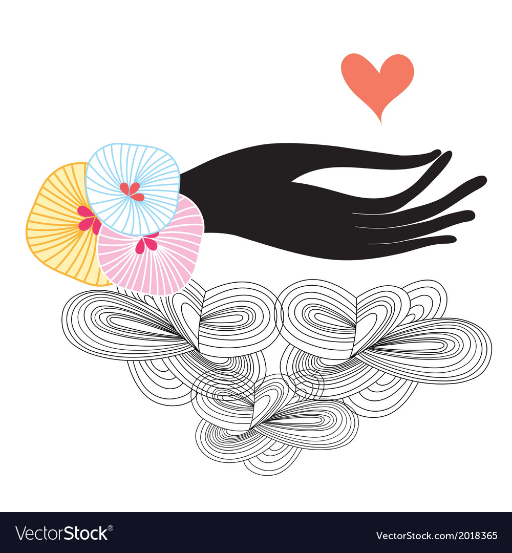 Silhouette of a hand with the heart vector | Price: 1 Credit (USD $1)