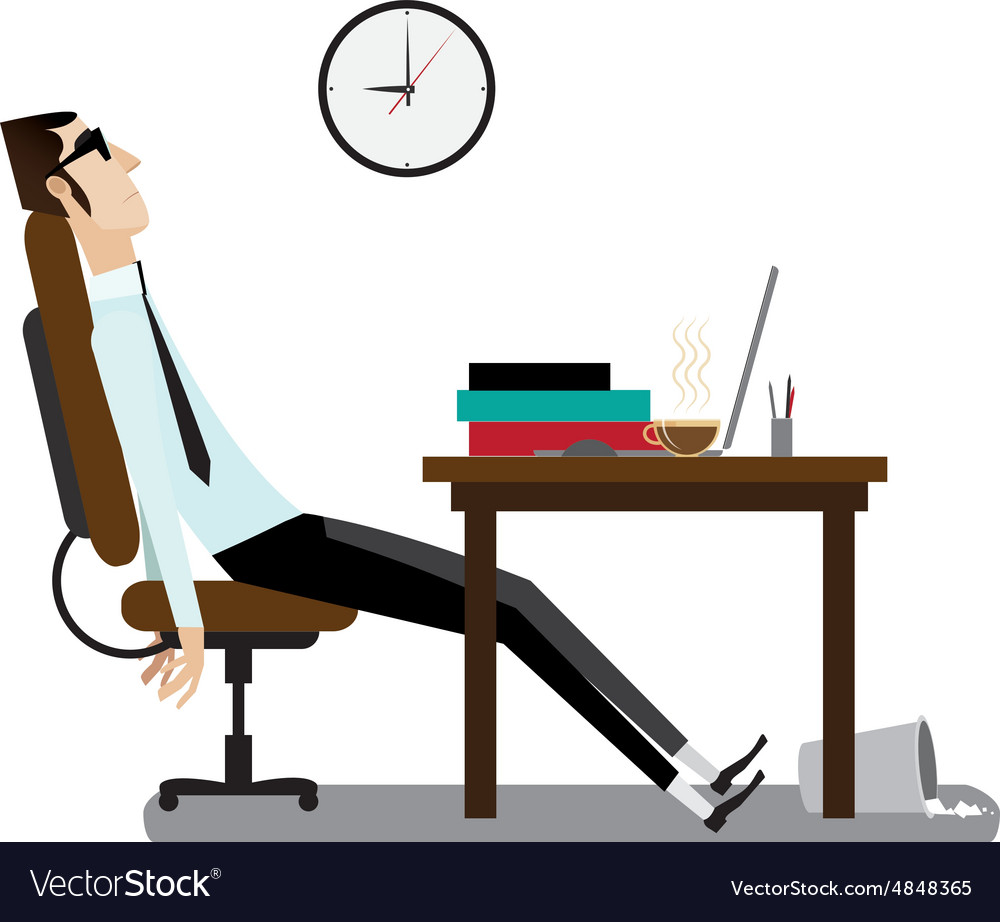 Tired office man sitting at desk vector