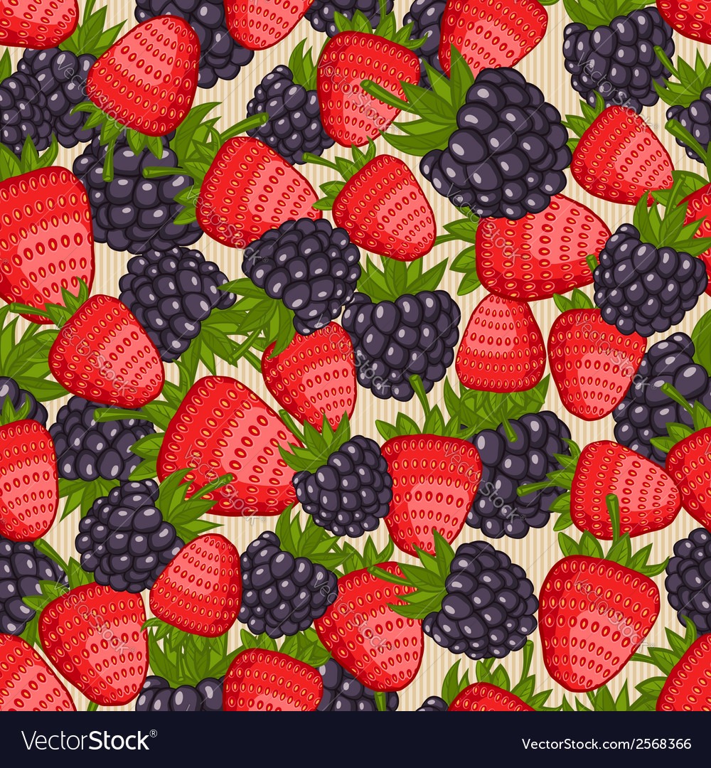 Berry seamless pattern vector | Price: 1 Credit (USD $1)