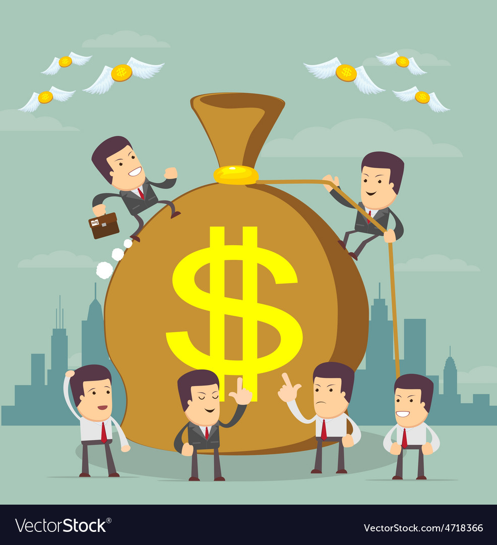 Businessman trying to make money vector | Price: 3 Credit (USD $3)