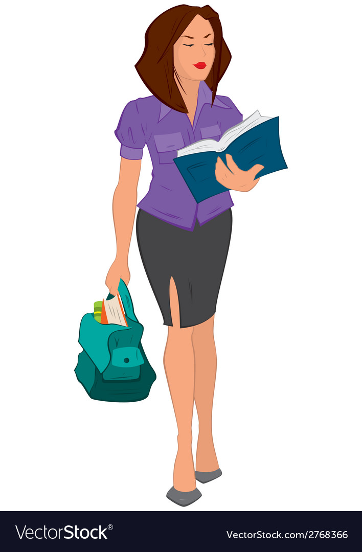 Cartoon young woman reading book and holding bag vector | Price: 1 Credit (USD $1)