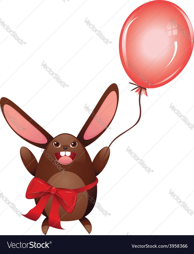 Chocolate bunny with balloon vector | Price: 1 Credit (USD $1)
