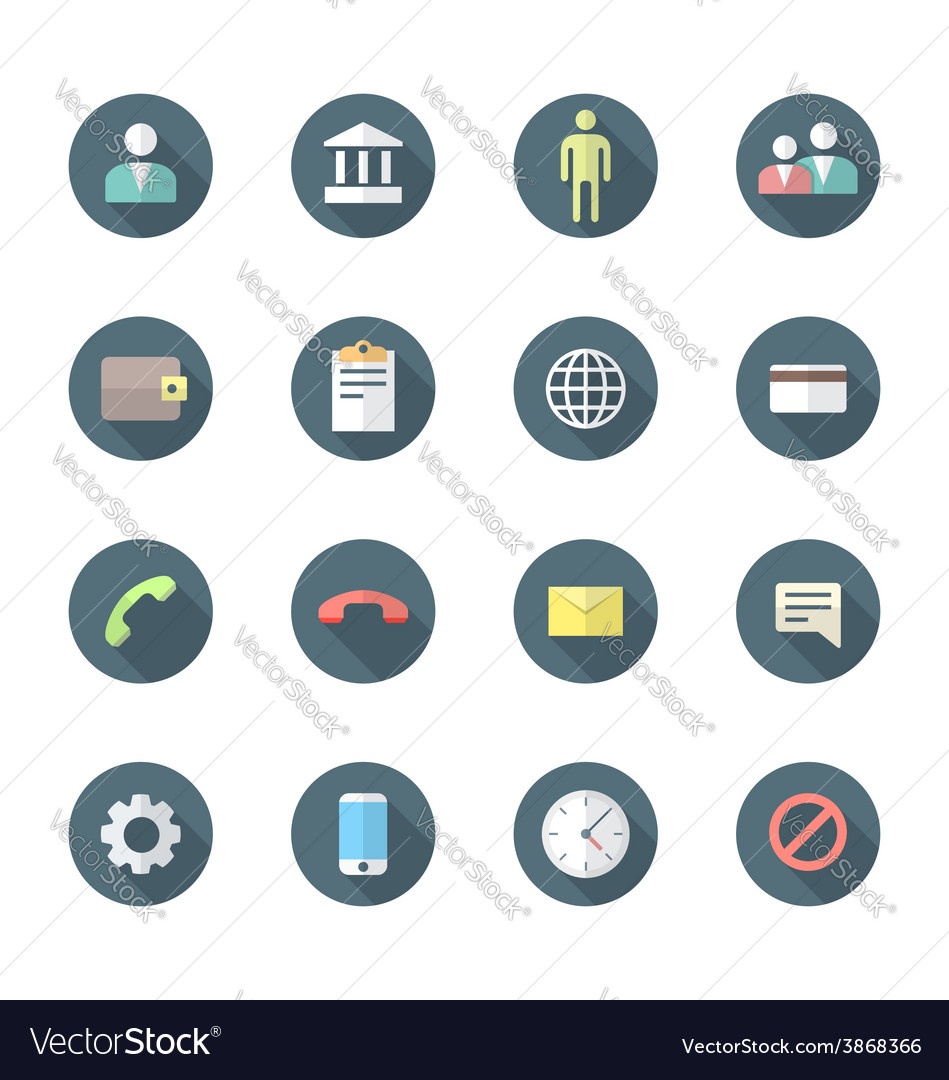 Color flat style various social network icons set vector | Price: 1 Credit (USD $1)