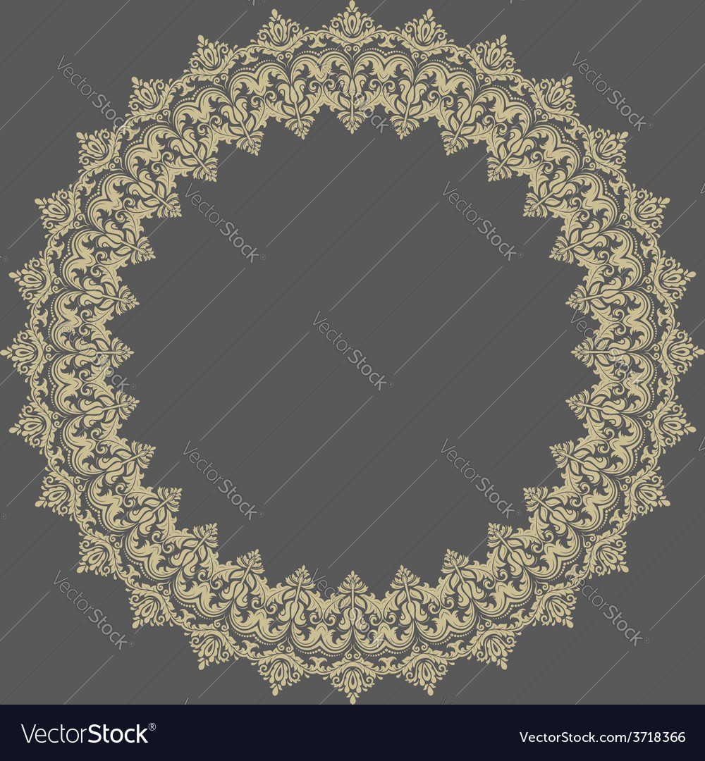 Damask pattern orient round ornament vector | Price: 1 Credit (USD $1)