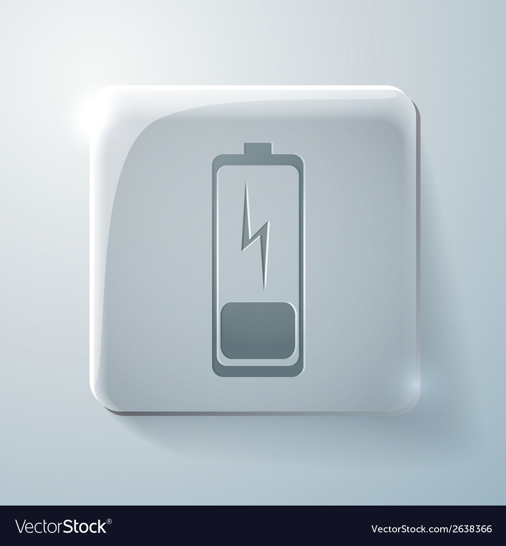 Discharged battery glass square icon vector | Price: 1 Credit (USD $1)