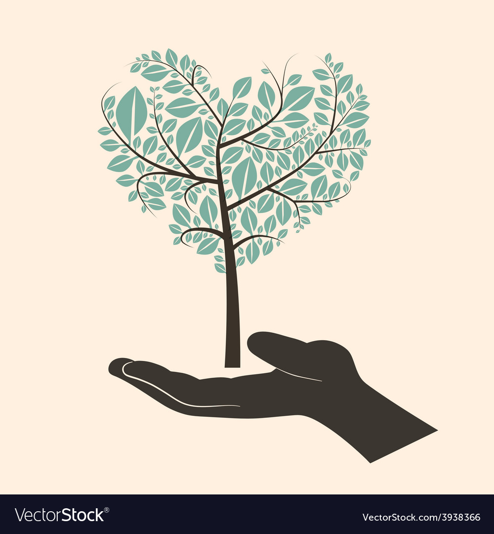 Flat design heart shaped abstract green tree in vector | Price: 1 Credit (USD $1)