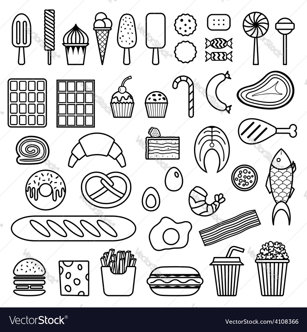 Icon of sweets fast food meat and fish vector | Price: 1 Credit (USD $1)