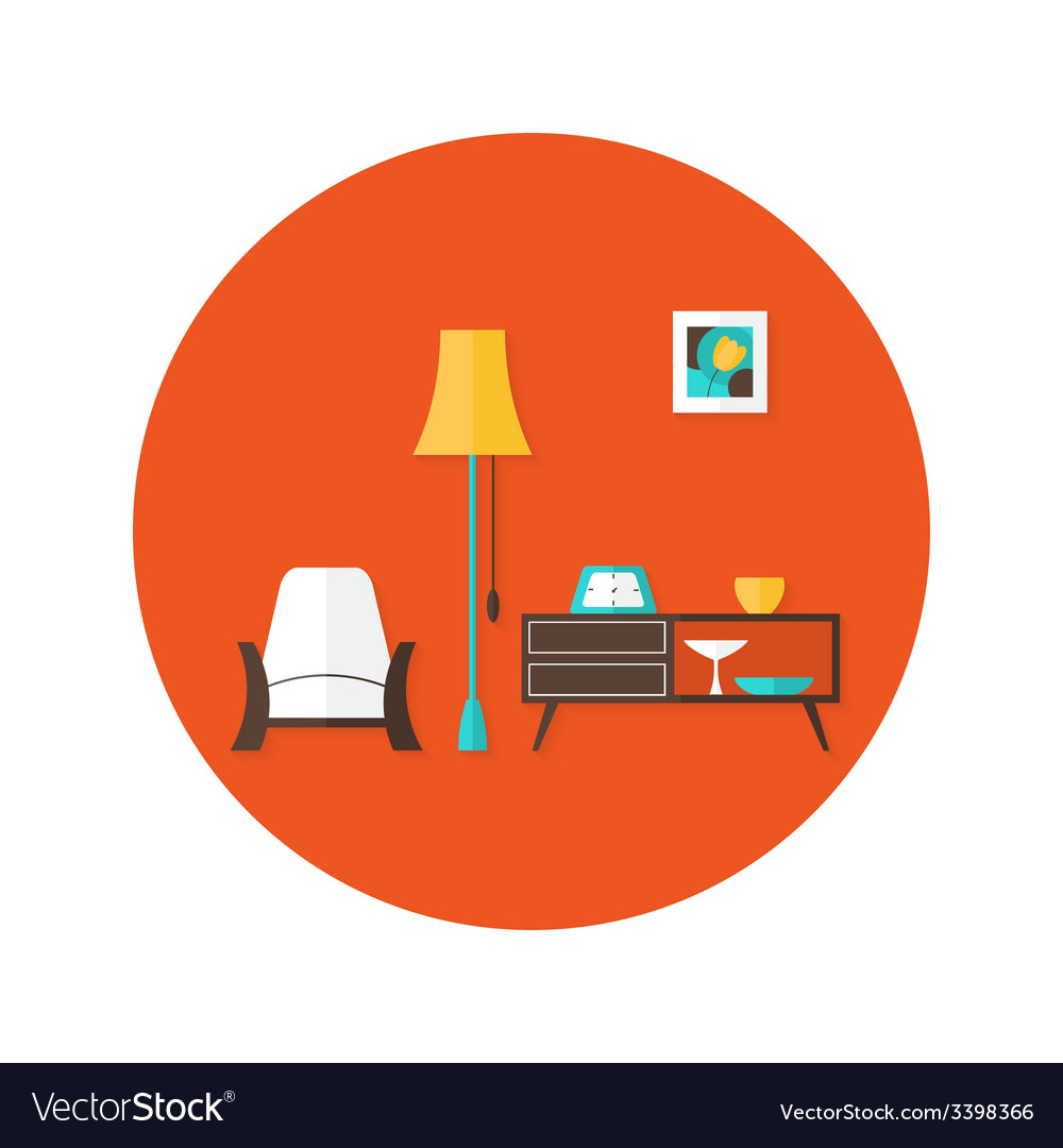 Living room flat circle icon over red vector | Price: 1 Credit (USD $1)