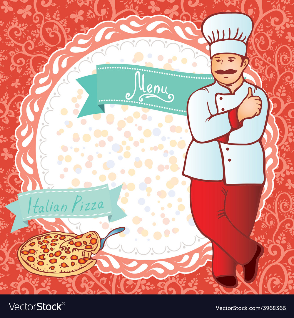 Menu chef with pizza red background with flowers vector | Price: 1 Credit (USD $1)